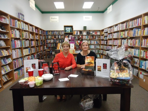 Pamela Triolo and colleague at Half Price Books Humble during Nurse's Week.